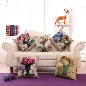 5PCS Sofa Cushion Pillowcase Vintage Vase Pattern Cotton Linen Throw Pillow Cover Home Decor - intl