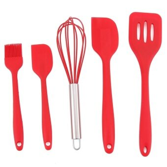 5pcs/set Silicone Baking Tool Kit 1 pcs Food Brush+1 pcs Spatula +1pcs Egg Beaters + 2 pcs Scraper Kitchenware Set - intl