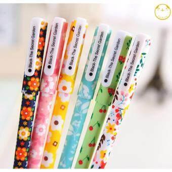 ต้องการขาย ปากกาเจลเกาหลีชุดลายดอกไม้/กล่อง 6ชิ้น/หมึกดำ