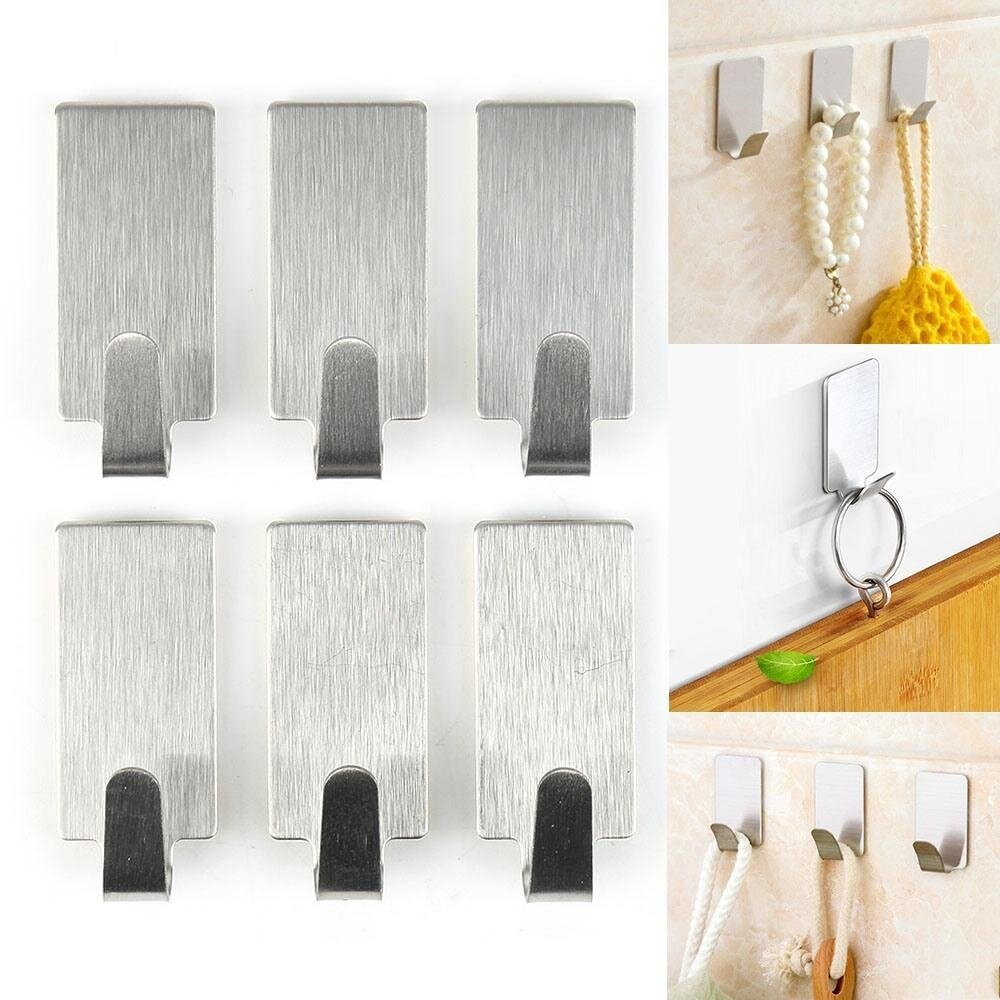 ... Adhesive Clothes Hanger Hook Wall Door Hook Source · 6 Pcs Home Using Mini Clothes Hooks Key Sticker Wall Holder Hooks Stainless Steel Hookss Self