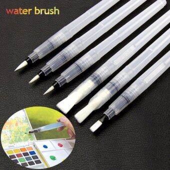 6pcs/Pack Watercolor Brush Pen Kit Set Water Storage Nylon Hair Flat Round Tip for Solid Color Pigment Painting Drawing Calligraphy Artist - intl