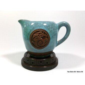 ชุดกาน้ำชาชุดใหญ่ลายหินอ่อน8ชิ้น สีเทอร์คอยซ์ฟ้า-เขียว พร้อมแก้วชา 6 ใบ ถ้วยรองน้ำชาเข้าชุด - 5