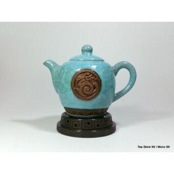 ชุดกาน้ำชาชุดใหญ่ลายหินอ่อน8ชิ้น สีเทอร์คอยซ์ฟ้า-เขียว พร้อมแก้วชา 6 ใบ ถ้วยรองน้ำชาเข้าชุด - 4