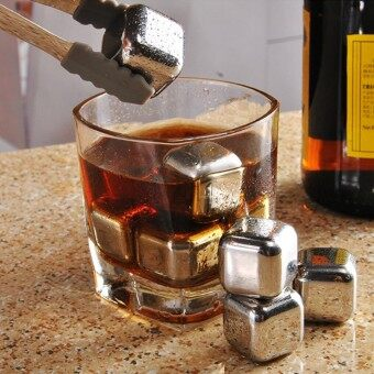 8pc Set Stainless Steel Whisky Wine Ice Cube Creative Wine Cooler with Clip Beer Ice Coffee Cooler Bar Tool - intl