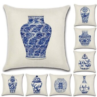 8PCS Chinese Style Blue and White Vase Sofa Cushion Pillowcase Cotton Linen Throw Pillow Cover Home Decor - intl