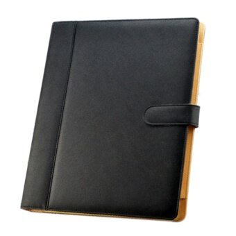 A4 3 Hole PU Leather File Folder Portfolio with Holder Calculatorfor Business Office Black - intl