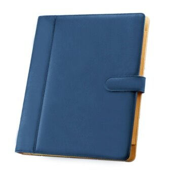 A4 3 Hole PU Leather File Folder Portfolio with Holder Calculatorfor Business Office Blue - intl