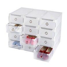 achute ชุดเซ็ตกล่องใส่รองเท้า มีลิ้นชัก แบบพลาสติกใสแบบขึ้นโครง แข้งแรง จำนวน 12 กล่อง DIY
