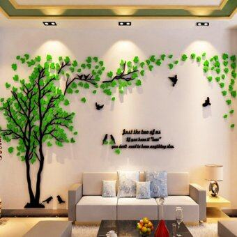 Acrylic Tree And Birds 3D Wall Stickers Countryside Style Green