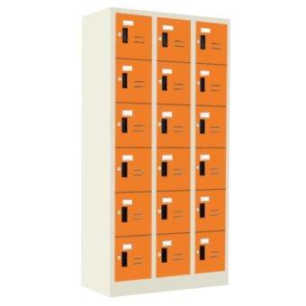ADD ตู้ล็อกเกอร์เหล็ก 18 ช่อง รุ่น LK - 18 สีส้ม
