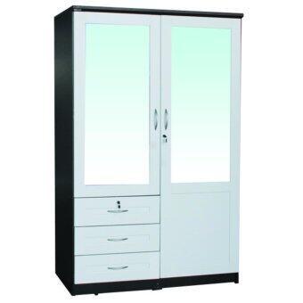 ADDHOME ตู้เสื้อผ้าบานเปิด กระจก 2 บาน ขนาด 120 ซม. รุ่น WR-1205 CM2 สีโอ๊ค / ขาว