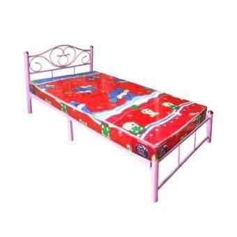 ADDHOME เตียงเหล็ก ขา 2 นิ้ว พร้อมที่นอนฟองน้ำ ขนาด 3.5 ฟุต รุ่นDuo- Lotus-3.5 (สีชมพู)