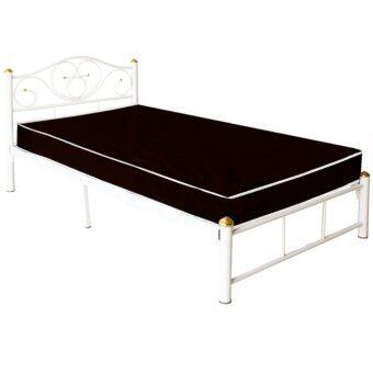 ADDHOME เตียงเหล็ก ขากว้าง 2 นิ้ว พร้อมที่นอนใยยางหุ้ม PVCขนาด 3.5 ฟุต รุ่น PVC Lotus-3.5 (สีขาว)