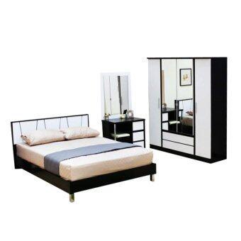 ADDHOME ชุดห้องนอนเมลามีน ขนาด 6 ฟุต(Set 3 ชิ้น) รุ่น ATHENS-6S3(สีโอ๊ค-ขาว)