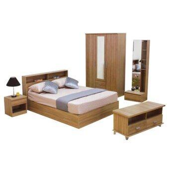 ADDHOME ชุดห้องนอน ขนาด 6 ฟุต Set 5 ชิ้น รุ่น Burlin-6S5(สีคาปูชิโน่)