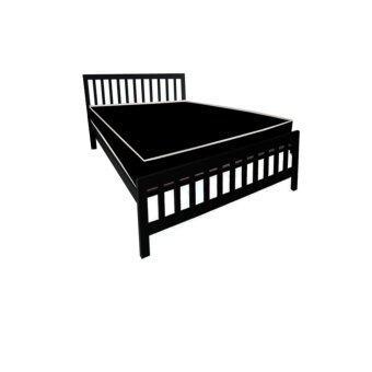 ADDHOMEเตียงเหล็กกล่อง พร้อมที่นอนใยยางหุ้ม PVC ขนาด 3.5 ฟุต รุ่น PVCExtra-3.5(สีดำ)