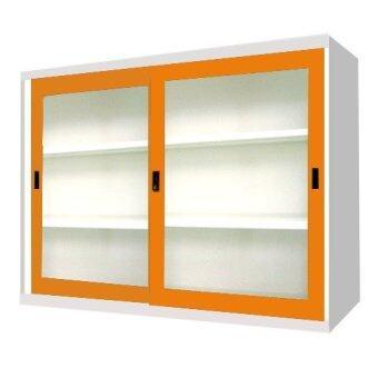 ADHOME ตู้เอกสารบานเลื่อนกระจก ขนาด 90 ซม. รุ่น SLA-3 (สีส้ม)