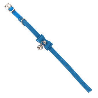 Adjustable Paet Kitten Cat Puppy Safety Collar Bell Buckle Neck Strap Blue