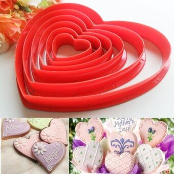 ADS Practical High-quality Hot Sell SOLEDI 6pcs/set Heart Shaped plastic Cake mold biscuit stamp Cookie mould - intl