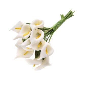 Amango ดอกไม้ประดิษฐ์ช่อดอกไม้ประดับโฟมซ่อมนู่น Calla ลัยอัลบั12ชิ้นขาว