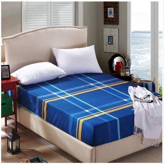 APK ชุดผ้าปูที่นอน 5 ชิ้น 6 ฟุต รุ่น SS6-55 (สีน้ำเงินตาราง)