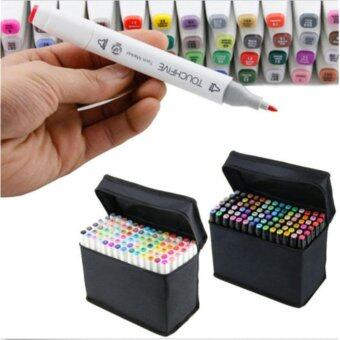 Architecture 60 Colors Dual Tips Art Sketch Twin Marker PensHighlighters with Carrying Case for Painting Coloring Highlightingand Underlining - intl