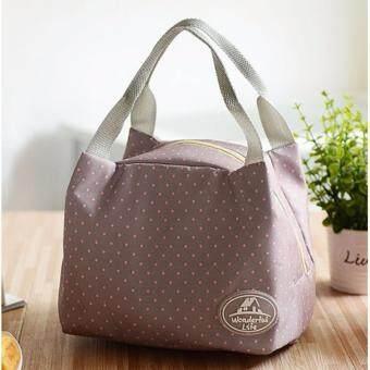 สนใจซื้อ Areeya@Shop กระเป๋าเก็บความร้อน-เย็น กระเป๋าเก็บอุณหภูมิ ลายจุด สีเทา Cooler Bag-220-polkadot-Gray