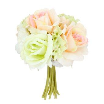 Artificial Silk Rose Bridal Flower Bouquet Wedding 18cm WhiteChampagne