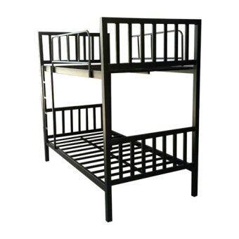 Asia เตียงเหล็ก2ชั้น เหล็กหนาพิเศษ 3.5 ฟุต รุ่นคอนโด (สีดำ)