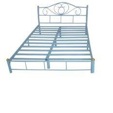 Asia เตียงเหล็ก6ฟุต รุ่นโลตัส ขา2นิ้ว (สีฟ้า)