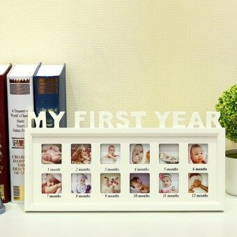 Baby MY FIRST YEAR Photo Frame Multi PICTURE DISPLAY 12 Months WHITE Wood - intl