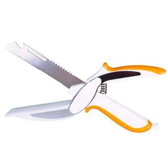 Balco มีดเขียง Clever Cutter Knife and Cutting Board มีดหั่นพร้อมเขียงในตัว รูปแบบกรรไกร หั่นผัก ผลไม้ เนื้อ ชีส พร้อมที่เปิดขวด และตัวล็อค พกพาสะดวก ใช้งานง่าย รุ่น KDH-0002 สีขาว/ส้ม (White/Orange)