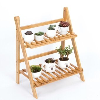 Harga Bamboo Folding Plant Stand Bamboo Shelf Natural 2-Layer Flower Rack Shoes Storage Rack Herb & Plant Shelf (M 70X60cm) - intl
