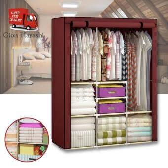 BanZai ตู้เสื้อผ้า 2 บล็อคเปิดข้าง พร้อมผ้าคลุม (สีเลือดหมู)