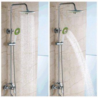 Bathroom Round Spray Rain Rainfall Top Shower Head +Hand-held Shower Head Set - intl