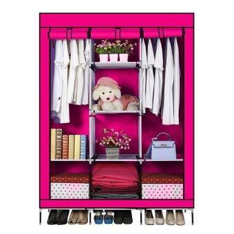 BG ตู้เสื้อผ้า เปิดข้างพร้อมผ้าคลุม 3 บล็อค (Pink)