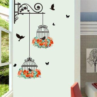 Birds on Cage Colorful Flowers Butterfly Home Decor Living RoomWall Stickers Door Decals Bedroom Mural Art Posters Diy Wallpaper -intl