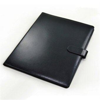 สีดำ A4 ซิปแฟ้มสัมมนาแฟ้มหนังเทียมแฟ้มเอกสารธุรกิจ