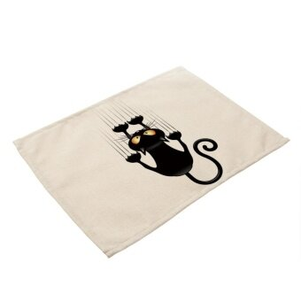 Harga Black Cat Printed Table Placemat Dinner Mat Non-slip HeatInsulation Dishware Coaster - intl