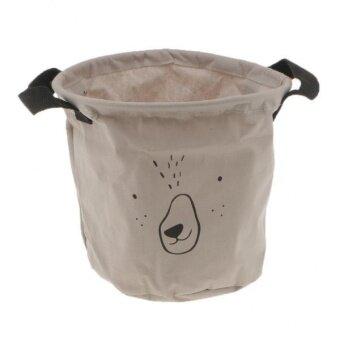ขาย BolehDeals Emoji Storage Basket Foldable Toy Clothes Bucket BinLaundry Hamper Gray