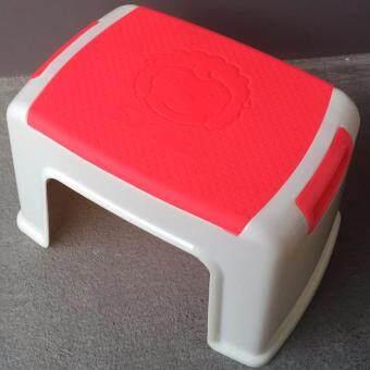 ฺBR เก้าอี้พลาสติกทรงเตี้ยหน้าแกะ แพ็ค 2 ชิ้น - สีแดง