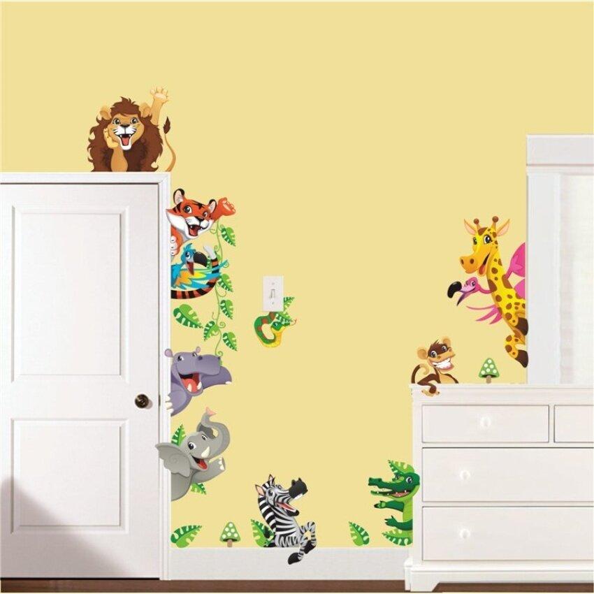 cartoon animals world child wall art stickers for kids room ...