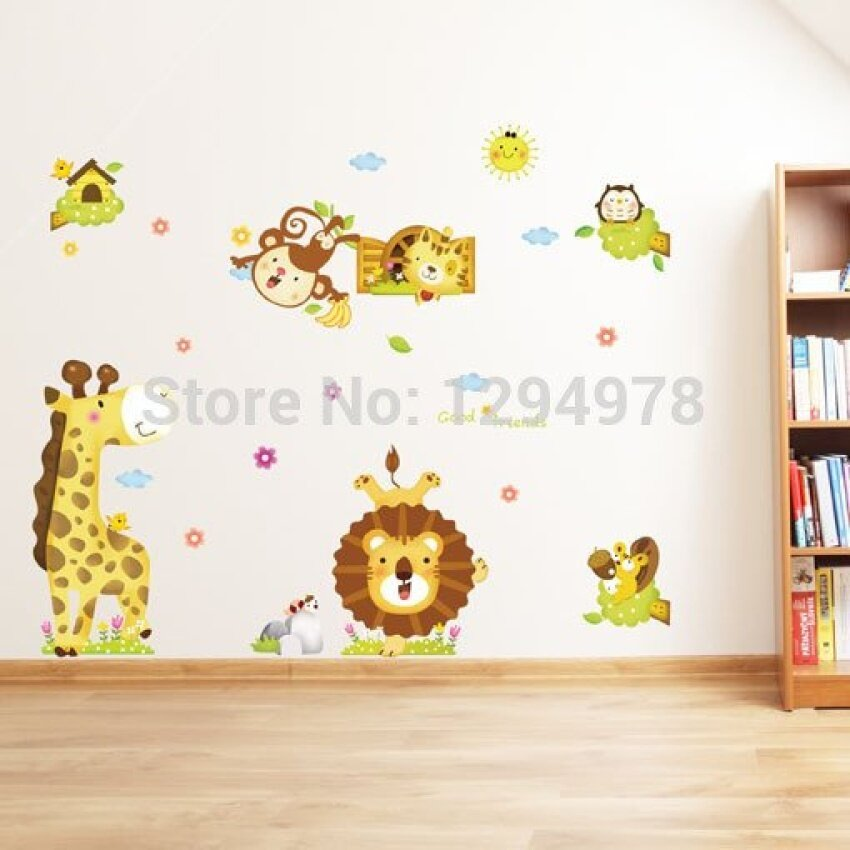 Cartoon Lovely Giraffe Lion Monkey DIY Removable Wall Stickers KidsBedroom Nursery Wallpaper Home Decor Mural Decal