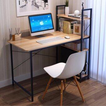 CASSA โต๊ะคอมพิวเตอร์ พร้อมชั้นวางหนังสือ (สีดำ-ลายไม้เข้ม)ขนาด100x48cm. รุ่น 253-H100X48CM-YB