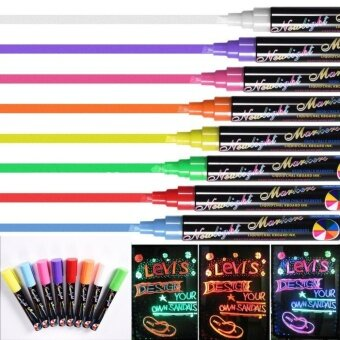 Catwalk 8 Liquid Chalk Pens Marker Reversible Neon Colourswhiteboeard Wipe Clean 6mm - intl