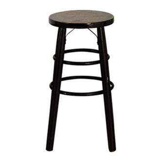 Chanathai เก้าอี้ไม้โบราณ ดามเหล็ก สูง 24 นิ้ว