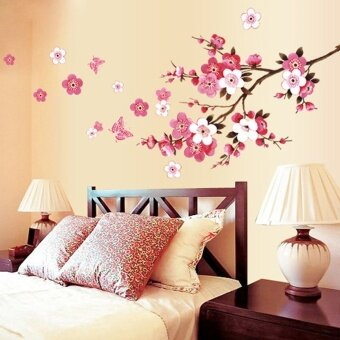 Cherry Blossom Waterproof Wall Sticker for Cafe Bedroom Background