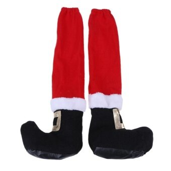 Christmas Chair Leg Table Santa Claus Leg Chair Foot Cover (Red + Black) - intl