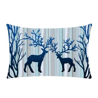 Christmas Rectangle Cotton Linter Pillow Cases Cushion Covers - intl