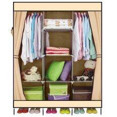 Closet Storage ตู้เสื้อผ้าญี่ปุ่น+พร้อมผ้าคลุม 3 บล็อค (สีครีม)